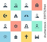 set of 16 simple faith icons.... | Shutterstock . vector #559752964
