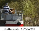 Aged Men On Narrow Boat In...