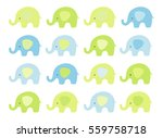 cute baby elephant set. vector... | Shutterstock .eps vector #559758718