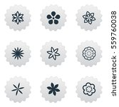 set of 9 simple flower icons.... | Shutterstock .eps vector #559760038