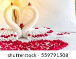white two towel swans and red... | Shutterstock . vector #559791508
