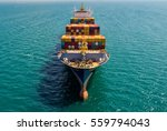 container ship in export and... | Shutterstock . vector #559794043