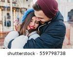 closeup portrait happy lovely... | Shutterstock . vector #559798738