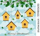 hooray  birdhouses  five cute... | Shutterstock .eps vector #559802650