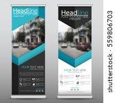 blue roll up business banner... | Shutterstock .eps vector #559806703