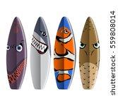 set of surfboards on white... | Shutterstock .eps vector #559808014