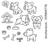vector set of dog doodle hand... | Shutterstock .eps vector #559809778