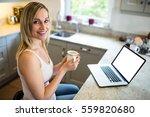 pretty blonde woman having... | Shutterstock . vector #559820680