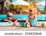 little boy and girl playing in... | Shutterstock . vector #559820848