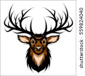 Deer Head. Vector Illustration...