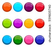 big set of shiny vector button