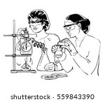 two laboratory assistants... | Shutterstock .eps vector #559843390