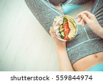 young woman is resting and... | Shutterstock . vector #559844974