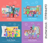 family shopping web banners set.... | Shutterstock .eps vector #559846693