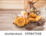 traditional arabic desserts... | Shutterstock . vector #559847548