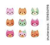 Stock vector set of vector cats faces cute cat characters 559856998