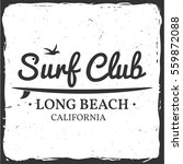 surf club retro badge with... | Shutterstock .eps vector #559872088