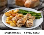 roast chicken with potatoes and ... | Shutterstock . vector #559875850