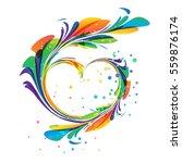 art heart ornament on white... | Shutterstock .eps vector #559876174