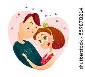 vector flat loving couple... | Shutterstock .eps vector #559878214
