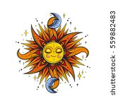 vector color magic sun and moon ... | Shutterstock .eps vector #559882483
