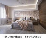 Stock photo spacious modern master bedroom with leather wall panels d render 559914589