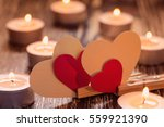 paper hearts and burning... | Shutterstock . vector #559921390