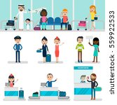 people in airport set with... | Shutterstock .eps vector #559922533