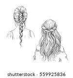 braids. hairstyle. vector... | Shutterstock .eps vector #559925836