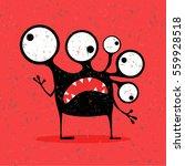cute black monster with...   Shutterstock .eps vector #559928518