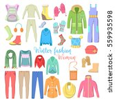 woman winter clothes and... | Shutterstock .eps vector #559935598