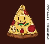 pizza smile mascot illustration.... | Shutterstock .eps vector #559960030