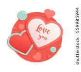 pink and blue paper hearts with ... | Shutterstock .eps vector #559985944
