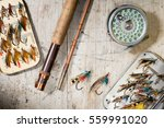 fly fishing rod  reel and...   Shutterstock . vector #559991020