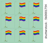 rainbow flag animation. vector...