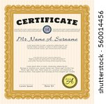 orange awesome certificate... | Shutterstock .eps vector #560014456