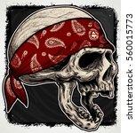 head skull wear bandana | Shutterstock .eps vector #560015773