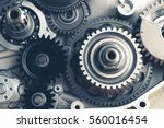 engine gears wheels  closeup... | Shutterstock . vector #560016454