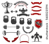 weightlifting icons. vector... | Shutterstock .eps vector #560023594