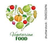 vegetables in shape of heart.... | Shutterstock .eps vector #560023696