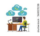 internet cloud sync media... | Shutterstock .eps vector #560025238