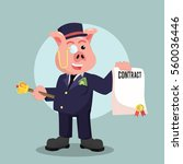 fat rich pig holding contract | Shutterstock .eps vector #560036446