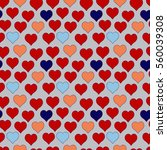 seamless pattern of red hearts  ... | Shutterstock .eps vector #560039308