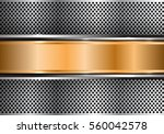 abstract gold banner on silver... | Shutterstock .eps vector #560042578