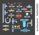 pipes vector icons isolated. | Shutterstock .eps vector #560042890