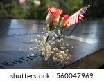 American Flag  Rose And Flower...