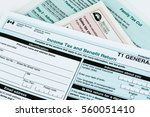 canadian tax form. personal... | Shutterstock . vector #560051410