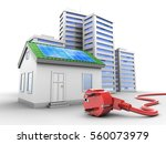 3d illustration of green house... | Shutterstock . vector #560073979