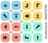 set of 16 simple arrows icons.... | Shutterstock .eps vector #560076784