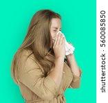 caucasian woman sneezing crying ... | Shutterstock . vector #560085850